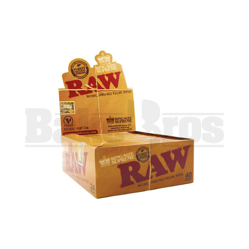 RAW NATURAL UNREFINED ROLLING PAPERS CLASSIC KING SIZE SUPREME 40 LEAVES UNFLAVORED Pack of 24