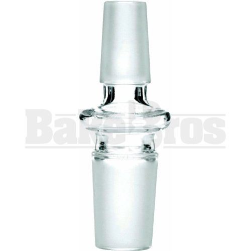 MALE TO MALE ESSENTIAL ADAPTER W/ RING 180* CLEAR MALE 18MM 14MM MALE