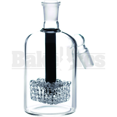 ASHCATCHER FRIT GLASS GRID PERC 45* ANGLED JOINT BLACK MALE 14MM