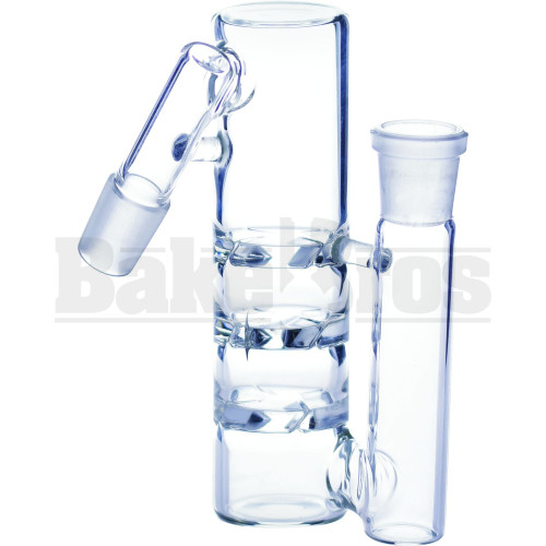 """ASHCATCHER 1.5"""" DIAM 3X TURBINE DISK PERC L CONFIG 45* ANGLE JOINT CLEAR MALE 18MM"""