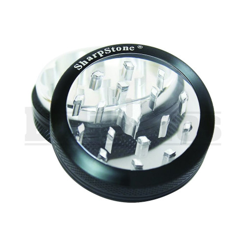 "SHARPSTONE CLEAR TOP GRINDER 2 PIECE 2.2"" BLACK Pack of 1"