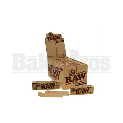 RAW NATURAL UNREFINED PERFORATED GUMMED TIPS 33 TIPS UNFLAVORED Pack of 24