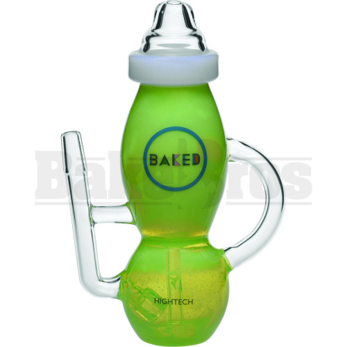 "HIGH TECH WP BABY BOTTLE RECYCLER W/ SPLASHGUARD 8"" SLIME GREEN MALE 14MM"