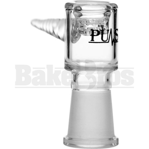 PULSE FEMALE BOWL JOINT ASTERIK GLASS SCREEN W/ TWISTED HANDLE CLEAR 18MM