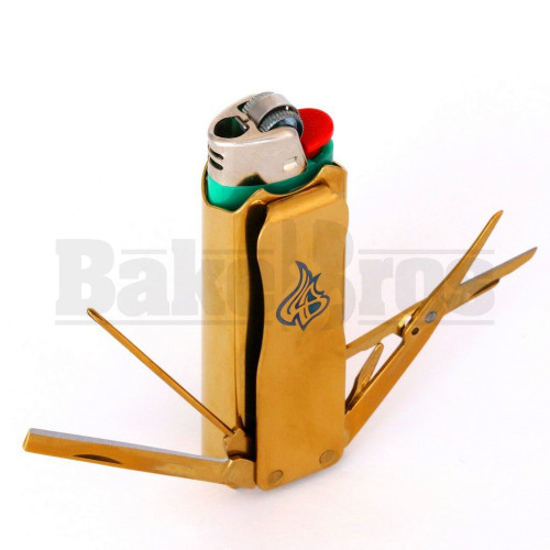 """LIGHTERBRO MULTI TOOL 7 FUNCTIONS 3"""" GOLD Pack of 1"""