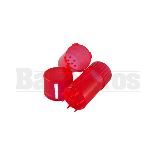 """MEDTAINER CONTAINER GRINDER 3 PIECE 3.5"""" TRANSLUCENT RED Pack of 1"""