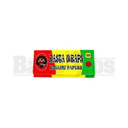 RASTA WRAP ROLLING PAPERS 1 1/2 32 LEAVES PER PACK UNFLAVORED Pack of 1