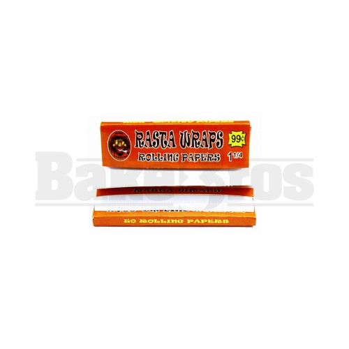 RASTA WRAPS ROLLING PAPERS 1 1/4 UNFLAVORED Pack of 1