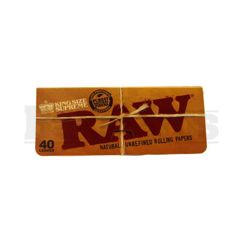 RAW NATURAL UNREFINED ROLLING PAPERS CLASSIC KING SIZE SUPREME 40 LEAVES UNFLAVORED Pack of 6