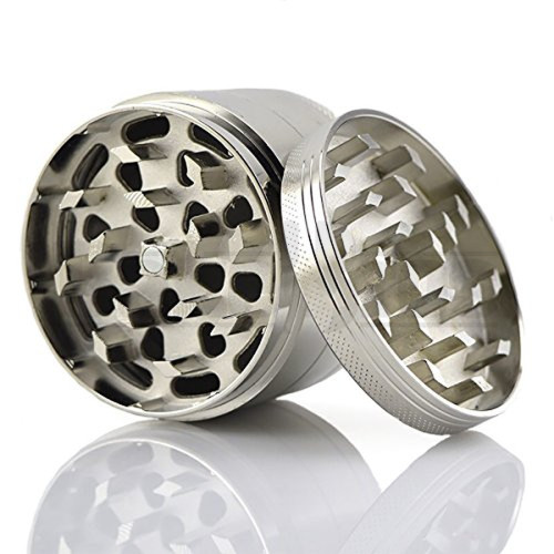 "METAL GRINDER 4 PIECE W/ POLLEN COLLECTOR 2"" SILVER Pack of 1"