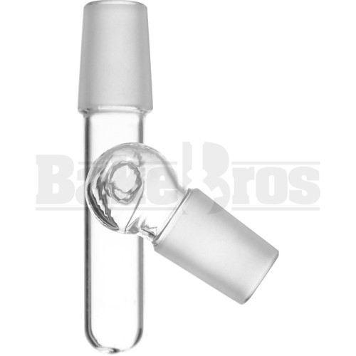 MALE TO MALE OIL CATCHER ADAPTER WITH BULB 135* CLEAR MALE 14MM 14MM MALE