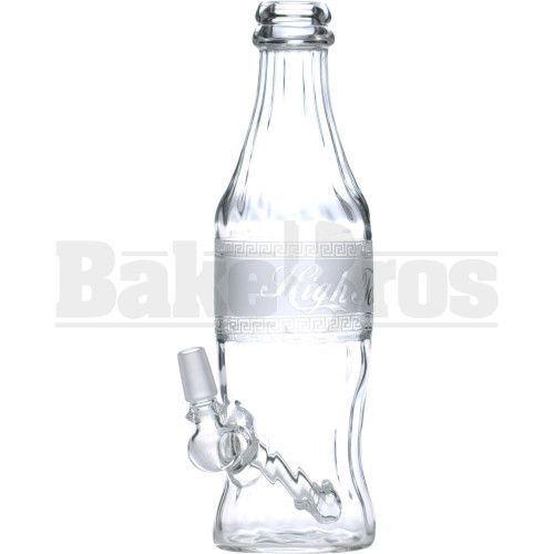 "HIGH TECH WP GREEK CHAIN LINK SODA BOTTLE W/ DRUM PERC 9"" CLEAR MALE 14MM"