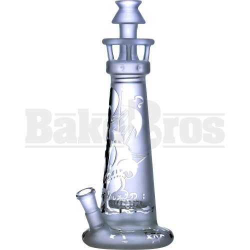 """WP LIGHTHOUSE STRAIGHT TUBE W/ 3D ETCH SAILOR BOAT THEMED 11"""" TRANSLUCENT CLEAR FEMALE 14MM"""