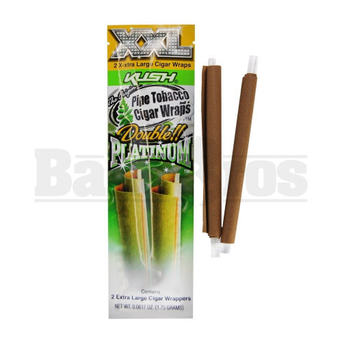 DOUBLE!! PLATINUM XXL CIGAR WRAPS 2 PER PACK KUSH Pack of 1