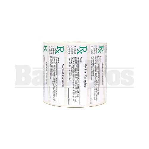 """MEDICAL LABELS ROLL 2.5"""" x 1.0"""" RX MEDICAL CANNABIS W/ STRAIN MULTISTATE Pack of 1 1000 Per Pack"""