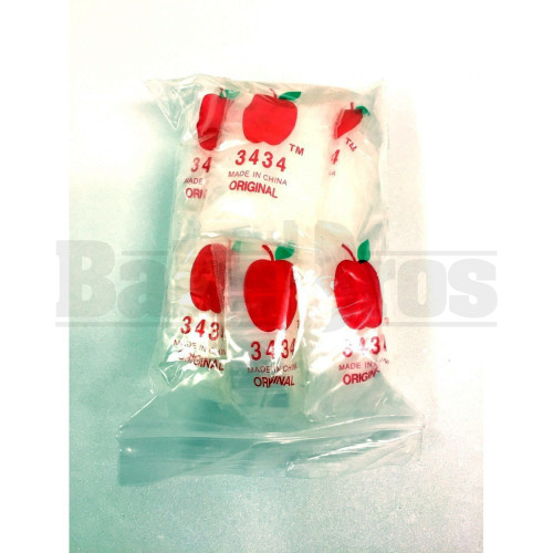 "APPLE BAGS BAGGIES 3434 3/4"" x 3/4"" CLEAR Pack of 10 1000 Per Pack"