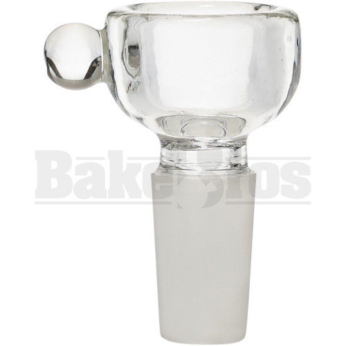 BOWL 4MM THICK WALL HALF CYLINDER W/ BULBOUS HANDLE CLEAR 14MM