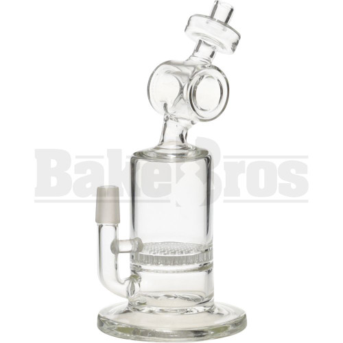 """WP BARREL NECK TO CAN W/ HONEYCOMB DICK PERC 7"""" CLEAR MALE 14MM"""