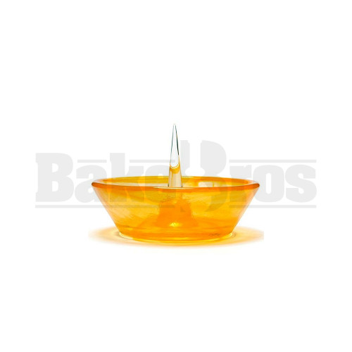 "DEBOWLER GLASS ASHTRAY 5"" AMBER"