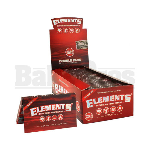ELEMENTS RED SLOW BURN HEMP ROLLING PAPERS SINGLE WIDE 100 LEAVES UNFLAVORED Pack of 25