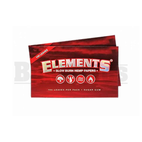 ELEMENTS RED SLOW BURN HEMP ROLLING PAPERS SINGLE WIDE 100 LEAVES UNFLAVORED Pack of 1