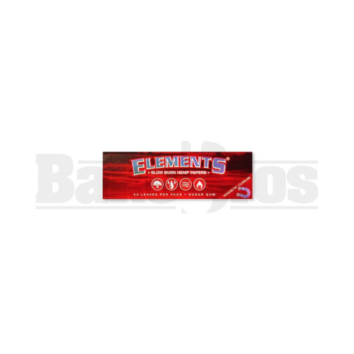 ELEMENTS RED SLOW BURN HEMP ROLLING PAPERS 1 1/4 50 LEAVES UNFLAVORED Pack of 1