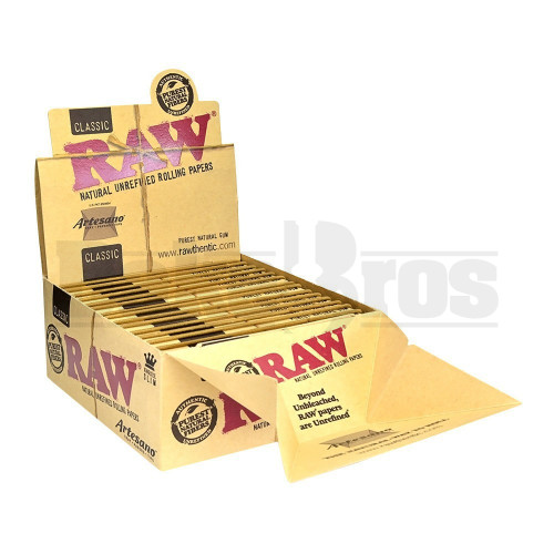 RAW ROLLING PAPERS CLASSIC ARTESANO KING SIZE SLIM 32 LEAVES UNFLAVORED Pack of 15