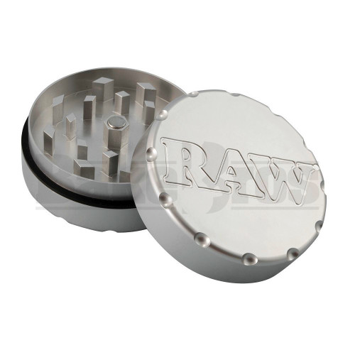 "RAW CLASSIC SHREDDER AIRCRAFT GRADE ALUMINUM GRINDER 2 PIECE 2.5"" SILVER Pack of 1"