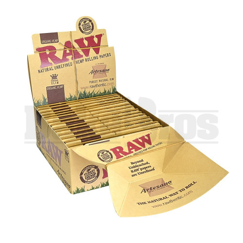 RAW ORGANIC HEMP ROLLING PAPERS ARTESANO 1 1/4 32 LEAVES UNFLAVORED Pack of 15