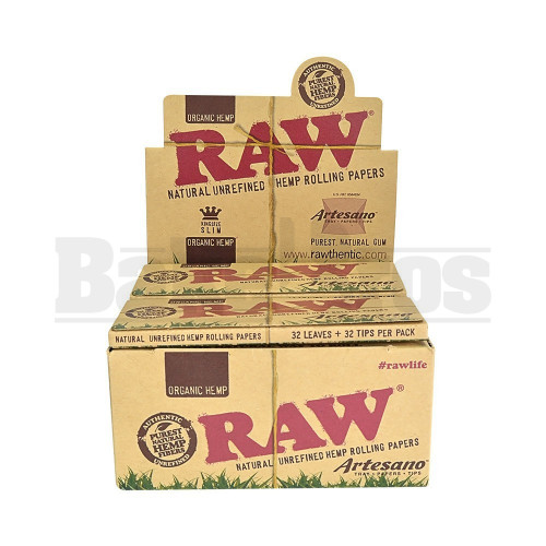 RAW ORGANIC HEMP ROLLING PAPERS ARTESANO KING SIZE SLIM 32 LEAVES UNFLAVORED Pack of 15