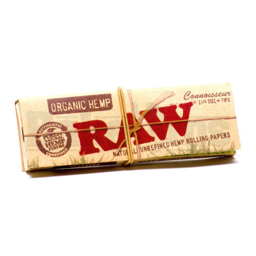 RAW ORGANIC HEMP ROLLING PAPERS W/ TIPS CONNOISSEUR 1 1/4 50 LEAVES UNFLAVORED Pack of 1
