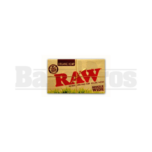 RAW ORGANIC HEMP ROLLING PAPERS SINGLE WIDE DOUBLE FEED 100 LEAVES UNFLAVORED Pack of 1