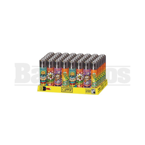 """CLIPPER LIGHTER 3"""" HIPPIE ASSORTED Pack of 48"""