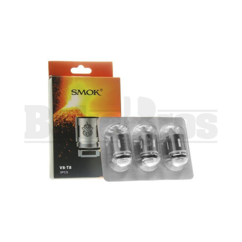SMOK V8-T8 REPLACEMENT ATOMIZER OCTUPLE COIL 120W-180W 0.15 OHM PACK OF 3 SILVER