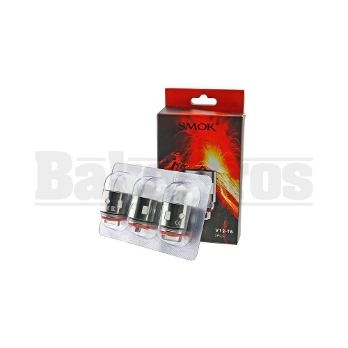 SMOK V12-T6 REPLACEMENT ATOMIZER SEXTUPLE COIL 120W-180W 0.17 OHM PACK OF 3 SILVER