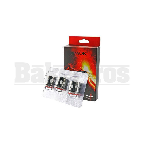 SMOK V12-T8 REPLACEMENT ATOMIZER OCTUPLE COIL 120W-200W 0.16 OHM PACK OF 3 SILVER