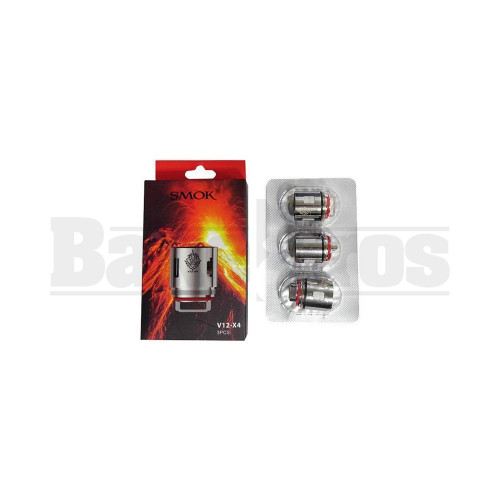 SMOK V12 -X4 REPLACEMENT ATOMIZER QUADRUPLE COIL 100W-170W 0.15 OHM PACK OF 3 SILVER