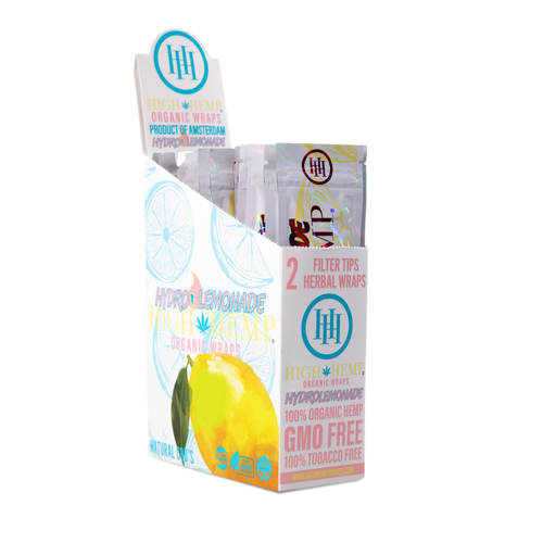 High Hemp Organic Wraps 2 Wraps With 2 Filters Hydro Lemonade Pack Of 25