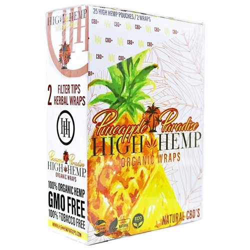 High Hemp Organic Wraps 2 Wraps With 2 Filters Pineapple Paradise Pack Of 25