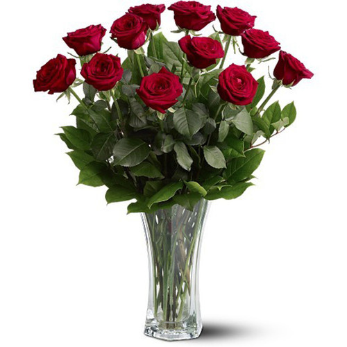 Dozen Premium Longstem Roses Vased