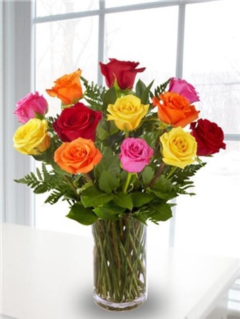 Dozen Mixed Roses Vased