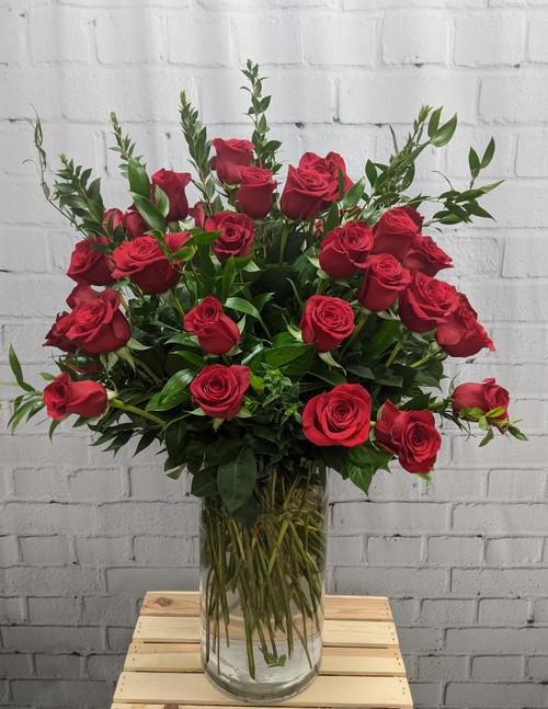 50 Longstem Red Roses Vased