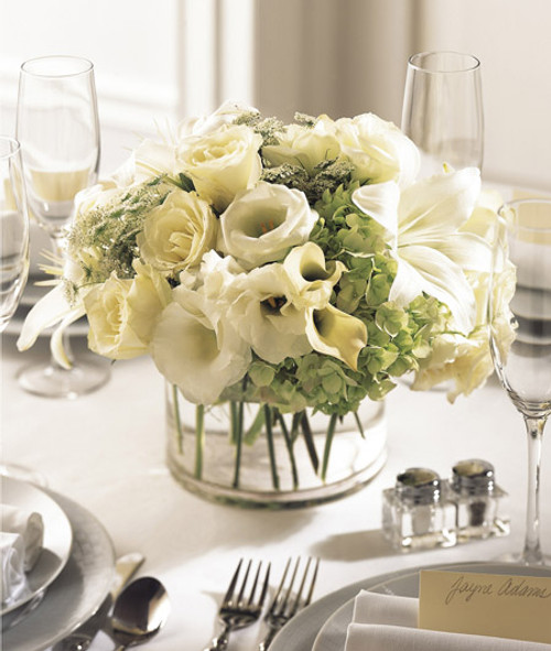 White Linen Centerpiece