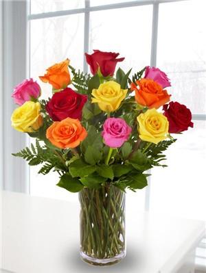 Dozen Mixed Roses Vased Northern Blvd Florist Queens
