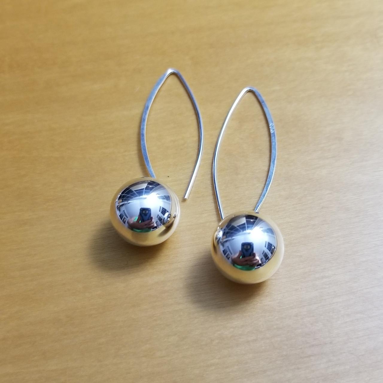 f027f2355 14mm Ball on Long Wire Earrings - Silvergirl Sterling