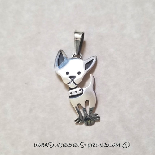 Chihuahua Pendant  | Sterling Silver Animal & Pet Jewelry