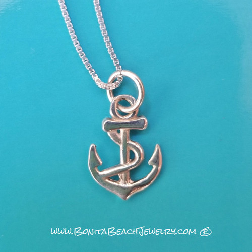 Little Anchor Pendant with Add-On Necklace Offer     Sterling Silver Beach Jewelry