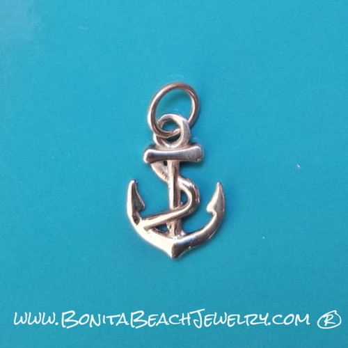 Little Anchor Pendant     Sterling Silver Beach Jewelry