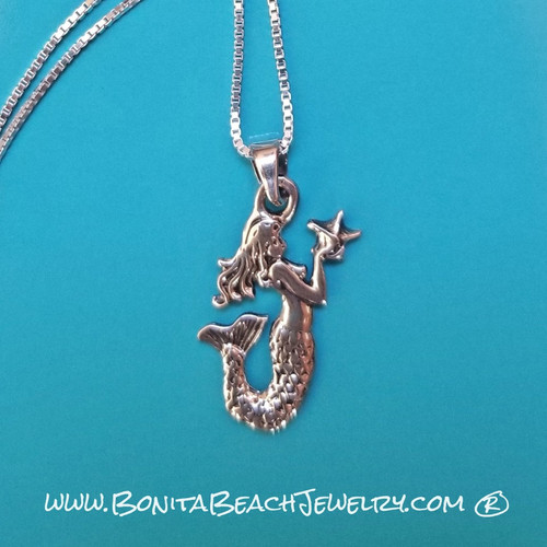 Tiny Mermaid with Star Necklace  |  Sterling Silver Beach Jewelry