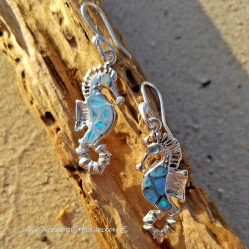 Opal Sea Horse Earrings in Blue Opal  |  Sterling Silver & Opal Sea Life Jewelry